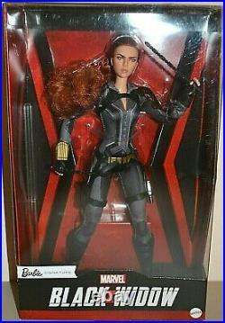 2020 Barbie Sig Black Label Marvel BLACK WIDOW BLACK SUIT Barbie Slgt Dented Box