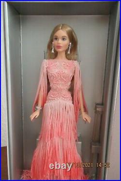 Barbie Fan Club, Beautiful Platinum Label Barbie, Blush Fringed Gown. Nrfb