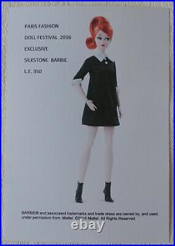 Barbie silkstone classic black dress Paris Festival 2016 NRFB! Platinum label