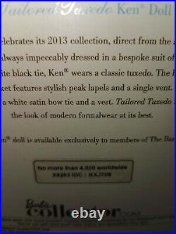 Bfmc Barbie Silkstone Ken Tailored Tuxedo Nrfb 2013 Gold Label