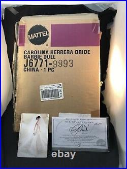 CAROLINA HERRERA PLATINUM BARBIE DOLL#833 of 999 WWNBRFBBOX GOT SOME DAMAGE