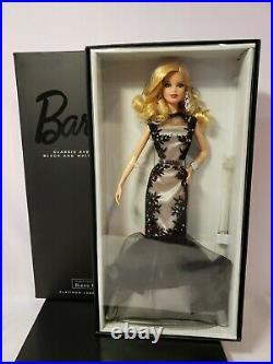 Classic Evening Gown Barbie Doll Bfc Black & White 2014 Platinum Mattel Cgt31