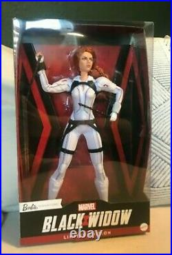 NEW Black Widow Barbie Doll Marvel Studios, White Suit Platinum Label