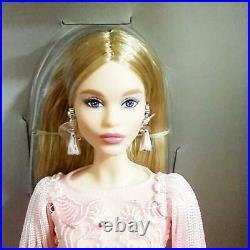Pink Barbie Doll BLUSH FRINGED GOWN BARBIE 2017 Platinum Label BFC